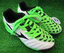 ミズノ サッカートレーニングシューズ P1GE153237 イグニタス 3 Jr. AS(ワイド) ホワイト×ブラック×グリーン 旧モデル・汚れありのためお買得!