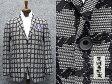 通年物ジャケット [東洲斎写楽] 白×黒 大格子 ジャガード [AB体]仕様 ベーシック2釦 メンズ ブランド SKJ12