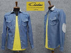 [Credimi] オーバーシャツ 後身ニット インディゴブルー 綿100% デニムシャツ シャツジャケット メンズ