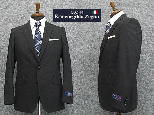春夏物 黒縞 [Ermenegildo Zegna] ゼニア COOL EFFECT使用 スタイリッシュ2釦スーツ [YA体][A体] EZS65 ロゴ入りジャガード裏地