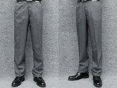 春夏物ノータック「すっきり」スラックス杢グレー無地調ウォッシャブルビジネスパンツ76cm-94cm