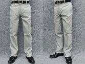 ★スリムノータックのびのび素材+ウエストスラックス春夏白黒千鳥格子ウォッシャブルビジカジパンツ76cm-120cm