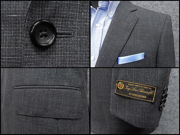グレー縞 チェルッティー使用 ベーシック2釦シングルスーツ CER7258-18 日本製 イタリー製生地 春夏物 [CERRUTI] [AB体] [BB体] メンズスーツ