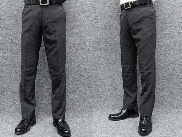 薄手素材 スリムノータック スラックス クールビズ ビジネスパンツ 濃グレー縞 W73〜97cm OS38190-3