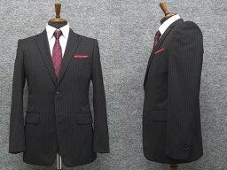 2パンツ スタイリッシュ2釦スーツ 黒系 ストライプ [A体][BB体] 秋冬物 総裏地 メンズスーツ GRA6162-09