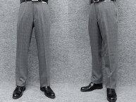 ウールタッチ素材ノータック「すっきり」スラックスグレー/格子秋冬物ウォッシャブルビジネスパンツW76〜100cmOS3914-2