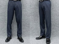 ウールタッチ素材スリムノータックスラックス藍紺/窓枠格子秋冬物ビジネスパンツW76〜94cmOS39210-2