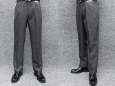 ★ノータックアダルトスラックス秋冬物中グレー無地ウォッシャブルビジネスパンツ76cm-94cmOS8550-3