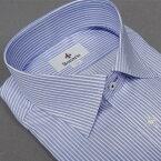 [BONARIO]ワイシャツスリムフィットボタンダウン長袖ブルー×白縞綿100%形態安定本縫いドレスシャツbon13-450