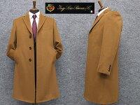 秋冬物日本製[ロロピアーナ]カシミヤ100%シングルチェスターコート[YA体〜AB体]対応スタイリッシュタイプキャメルメンズLO-coat44