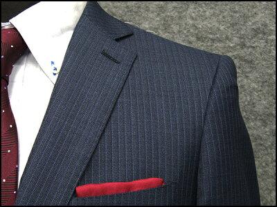 秋冬物[ロロピアーナ]Super130's生地使用[YA体][A体]スタイリッシュ2釦スーツ藍系縞メンズスーツLOS24