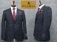 通年物[Scabal]スキャバルSuper140sオーダー生地使用スタイリッシュ2釦シングルスーツ紺縞日本製[YA体][A体][AB体]scb101