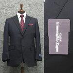 春夏物濃紺/無地[ErmenegildoZegna]ゼニアCOOLEFFECT使用ベーシック2Bスーツ[A体][AB体]ロゴ入り裏地メンズスーツEZR62