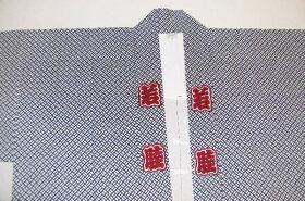 【祭衣装はっぴ】赤睦長袢纏江戸小紋二の字柄男女兼用フリーサイズ