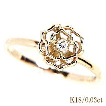 【即日配送】≪フルーリーシリーズ≫アンティークフラワー♪K18YGダイヤモンドリング