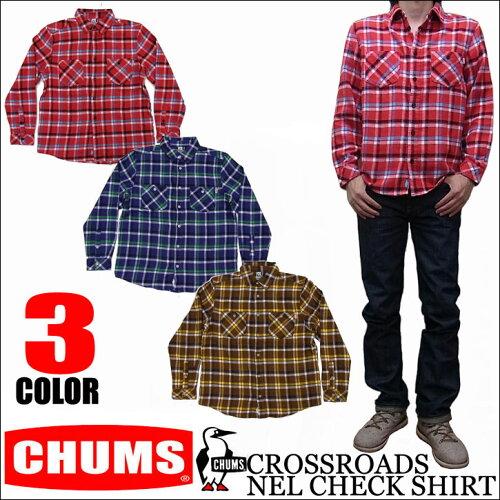 CHUMS CROSSROADS NEL CHECK SHIRT 全3色 チャムス クロスローズネルチェックシャツ 長袖フランネ...