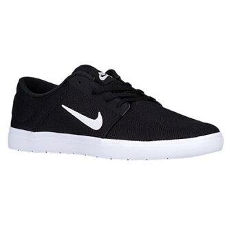 (索取)NIKE耐吉人SB S B端口更超燈運動鞋滑板Nike Men's SB Portmore Ultralight Black Black White[支持便利店領取的商品]
