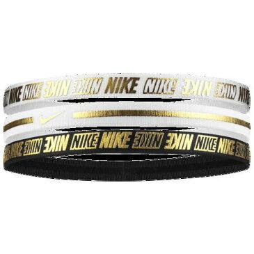 【エントリーでポイント5倍】(取寄)ナイキ レディース メタリック ヘアバンド 2.0 3 パック Nike Women's Metallic Hairbands 2.0 3 Pack White White Black