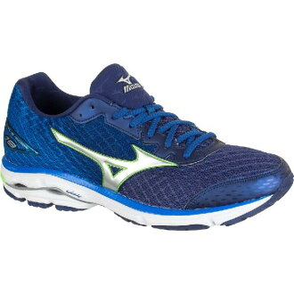 (索取)美津濃人摩托艇19跑步鞋Mizuno Men's Wave Rider 19 Running Shoe Twilight Blue/Green Gecko/Silver[支持便利店領取的商品]