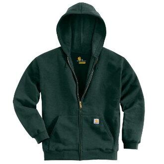 (得到 CDN) 哈特男人的中等重量充分郵編連帽運動衫連帽衫卡哈特男式 Midweight 拉鍊連帽運動衫連帽衫冠層綠色