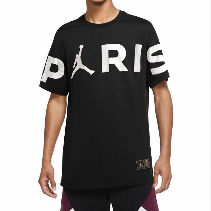 トップス, Tシャツ・カットソー NIKE PSG T T T Jordan Mens PSG Wordmark T-Shirt Black White
