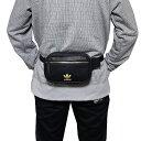 アディダス オリジナルス ウエストポーチ PU レザー ブラック ゴールド ファニーパック adidas Originals PU Leather Waist Pack Black Gold