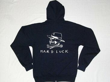 HARD LUCK ハードラック ロゴ ジップフード パーカー 紺ネイビー GONZ & JASON JESSEE ジェイソンジェシー