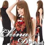 ●大胆な両サイドスリット綺麗な和柄チャイナドレス黒mc34