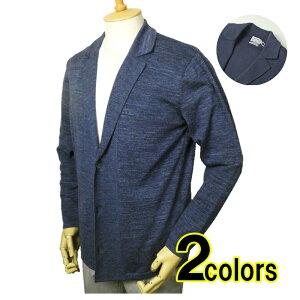 メンズ 春夏向け ニットジャケット綿100% インディゴ染 2色
