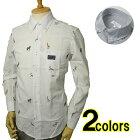 ボタンダウンシャツ綿100%サッカーストライプ&アニマル刺繍