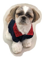 小型犬服フリースネイビーブルー×レッドジャケットノルディック背中のボタンで脱ぎ着裏地暖かフリース加工ドッグウェアダックストイプードルシーズー犬の服(L)
