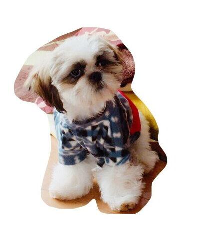 小型犬 服 ネイビーブルー×レッド 暖か フリース ドッグウェア