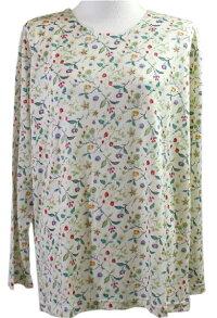 小花柄のシルクニットパジャマ(上下セット)