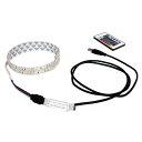 USB 流れる LED防水テープライト150cm RGB/カラフル[3528 SMD] 24キーリモコン型 白ベース DC5V
