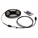 USB 流れる LED防水テープライト300cm RGB/カラフル[3528 SMD] 24キーリモコン型 白ベース DC5V