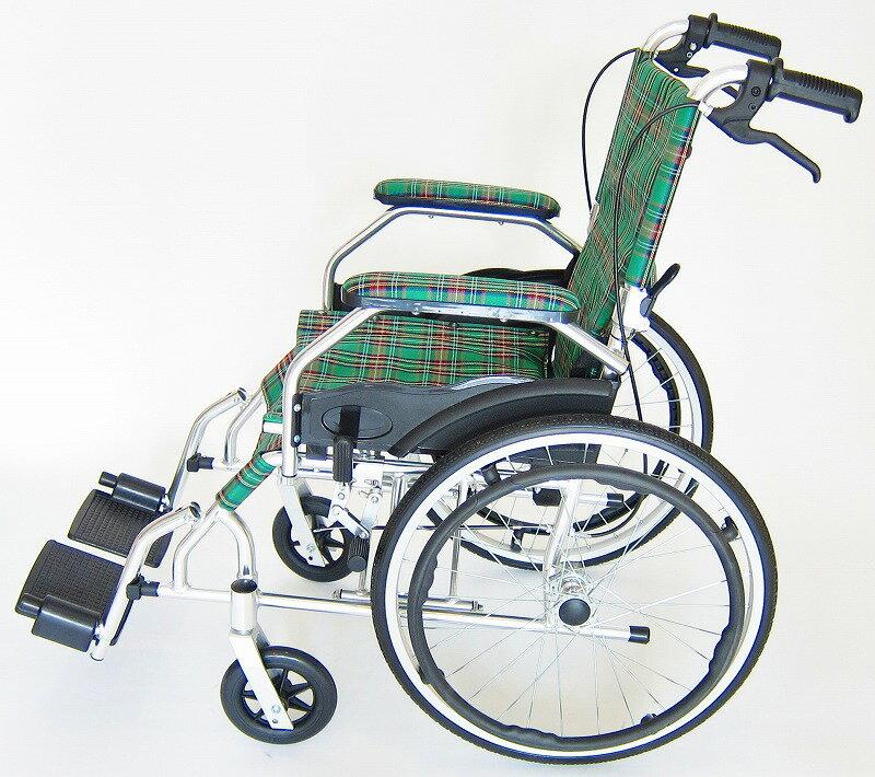 車椅子 軽量 車イス 車いす モスキー マドラスグリーンチェック 自走式 背折れ ノーパンクタイヤ 脚部エレーべーティング 折りたたみ 介助用 A103-AKG kadokura/カドクラ
