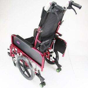 リクライニング式車椅子『アポロン』レッドコンパクトタイプ介助用車いす折り畳み式車イスノーパンクタイヤA801-RD