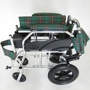 車椅子軽量折り畳み介護車イス車いす全4色送料無料ノーパンクタイヤカドクラKADOKURAクラウドグリーンチェックA604-AC