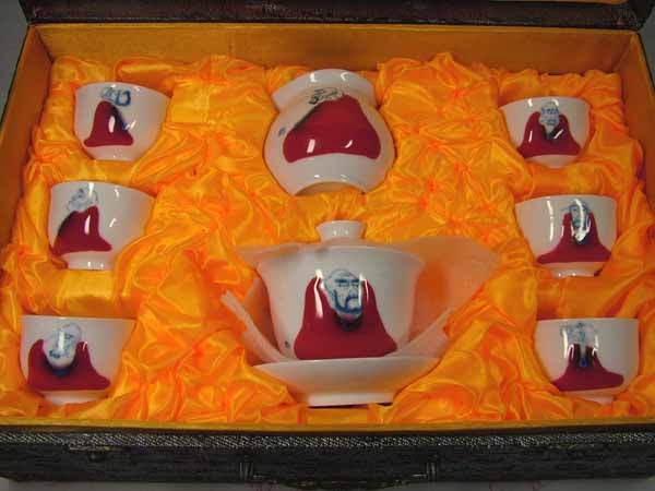 ■龍香堂■☆「景徳鎮」茶器 中国紅手描羅漢 8点セット