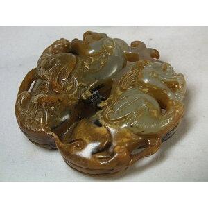 ■龍香堂■☆旧中国白玉(はくぎょく)彫物「双貔貅(ひきゅう)」51mm(v3)