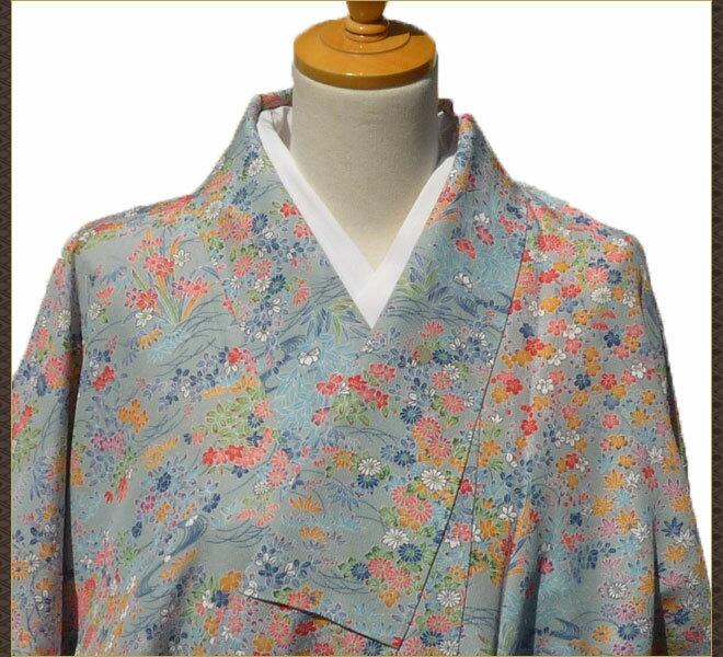 着物 小紋 花柄 正絹 質屋出店 リサイクル着物 中古着物 アンティーク着物