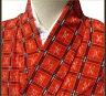 着物 単衣 小紋 絣柄 赤色 正絹 質屋出店 リサイクル着物 中古着物 アンティーク着物