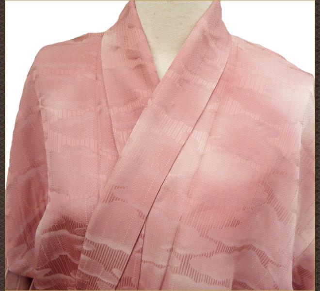 着物 単衣 紋付き ピンク色 正絹 質屋出店 リサイクル着物 中古着物 アンティーク着物
