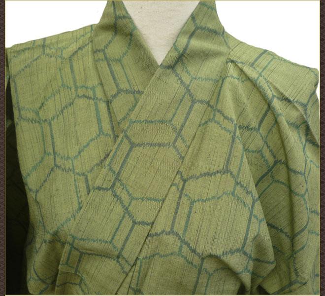 着物 単衣 紬 小紋 緑色 正絹 質屋出店 リサイクル着物 中古着物 アンティーク着物