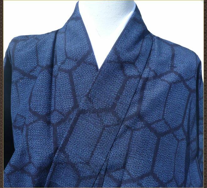 着物 紬 紺色 正絹 リサイクル着物 中古着物 アンティーク着物