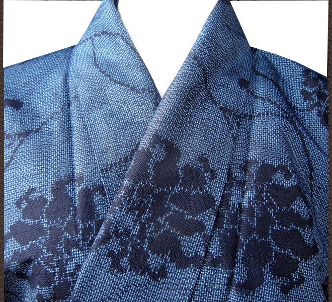 着物 正絹 紬 紺色 質屋出店 リサイクル着物 中古着物 アンティーク着物