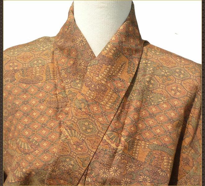 着物 単衣 小紋 茶色 正絹 質屋出店 リサイクル着物 中古着物 アンティーク着物