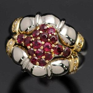 ♪リング指輪♪Pt900K18/ルビーR1.25ダイヤD0.08/#13.5【JR869】【税込価格】【質屋出店】【】【対応】