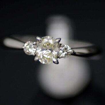 ♪リング 指輪♪ Pt900/ダイヤD0,444 D0,12/オーバルカット/#14 【JR1262】【税込価格】【質屋出店】【中古】【あす楽対応】