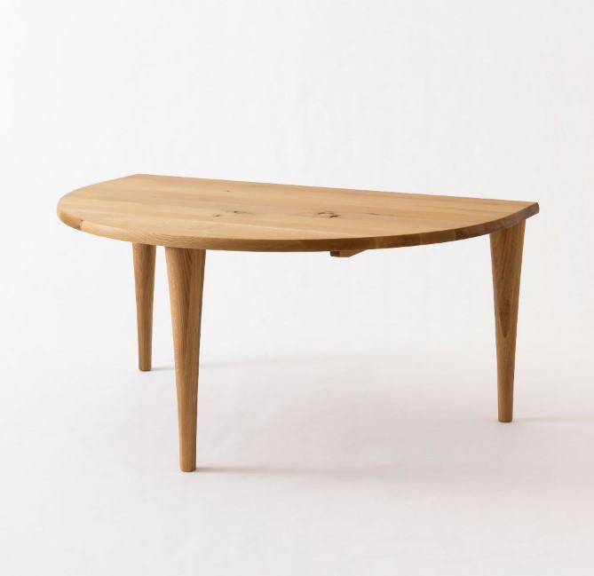【ポイント13倍】【送料無料】飛騨産業 森のことば 半円型テーブル SN390WP
